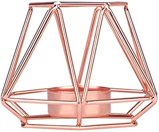 Romantic Geometric Candle Holders, JDgoods Nordic Style Wrought Iron Geometric Candle Holders Home Decoration Metal Crafts (Rose Gold, S)