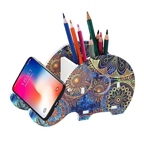 LIZIMANDU Elephant Pencil Holder with Phone Holder,Desk Supplies Organizer Multifunctional Office Accessories Desktop Pen Pencil Mobile Phone Bracket Stand Storage Box(Blue Flower)
