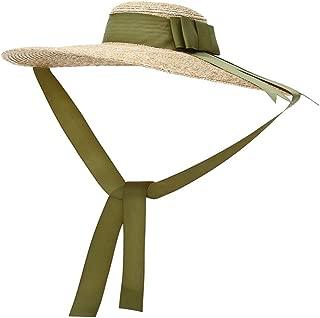 Vintage Straw Hat Women's Wide Brim Summer Beach Sun Hat w/Bowtie Ribbon