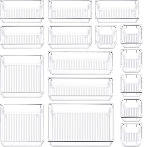 16 PCS Drawer Organizer Plastic Makeup Drawer Organizer 5 Size Customize Layout Organizer Container Versatile Kitchen Bathroom Office Clear Drawer Organizer Divider Bin for Desk Dresser Vanity Cabinet