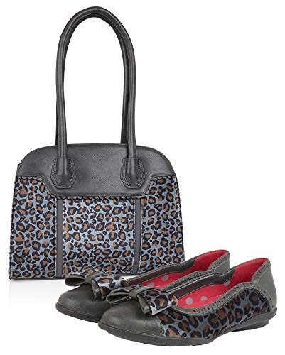 Ruby Shoo Grey Leopard Amber Ballerina Pumps & Matching Monza Bag UK 8