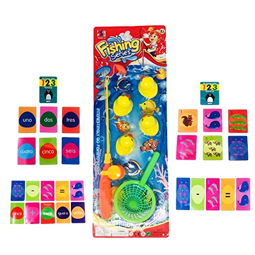 Lote de Caña de Pescar + 6 Patitos + Cesta + Juego de Cartas para Regalo de Niños y Niñas de 3 a 6 años de Edad (2 a 6) 🔥