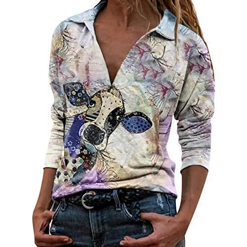 Camiseta para Mujer Pullover Cuello Redondo-Camiseta De Manga Larga para Mujer Camisetas para Mujer Camisetas...