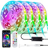 LED Strip Lights 65.6FT/20M by WGCC, LED Light Strips Color Changing Tape Lights with Bluetooth Remote Controller Sync to Music Apply for TV, Bedroom, Party & Home Decoration