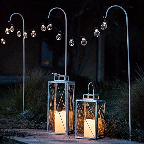 Lights4fun 1x Halterungsstange für Beleuchtungen 160cm Schäferstab weiß