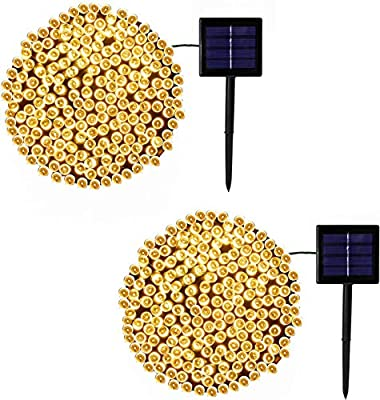 QINOL 2-Pack Solar String Lights Outdoor, More Durable 200 LED Solar Lights Outdoor, Waterproof Brighter 8 Modes Solar Fairy Lights for Party Decorations Wedding Patio Garden Home Decor (Warm White)