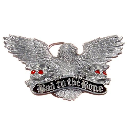 Biker Buckle Bad to the Bone, mit Adler und Totenköpfen - Gürtelschnalle
