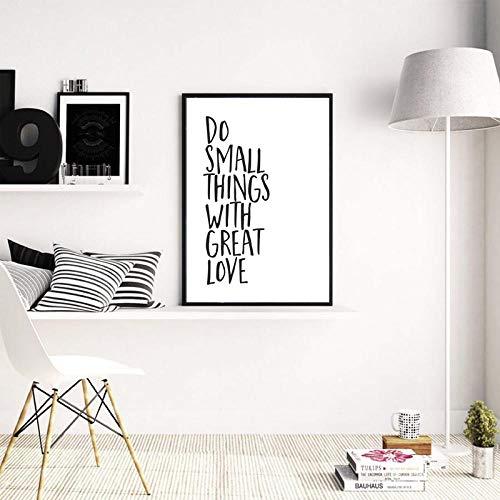 YDGG maak kleine dingen met grote liefde canvas schilderij zwart wit wooncultuur wanddruk 40 x 60 cm x 1 stuks zonder lijst