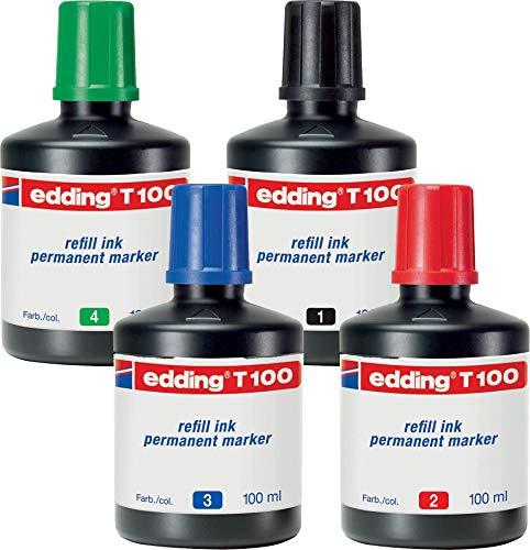 edding T100 Permanentmarker Nachfülltinte - Alle 4 Farben - Inhalt: 4x 100ml - Tusche für edding Permanent Marker (auch edding EcoLine)