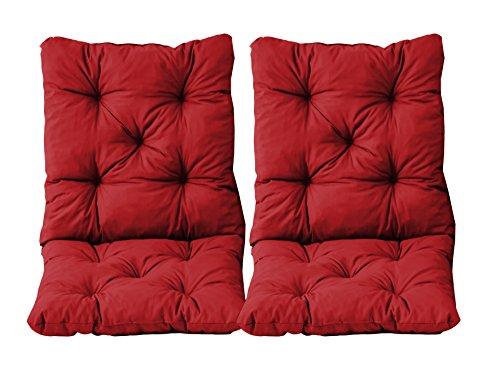 Ambientehome 2er Set Sitzkissen und Rückenkissen Sessel Hanko, rot, ca 50 x 98 x 8 cm, Polsterauflage