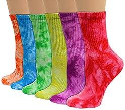 Women's Men's Unisex Tie Dye Crew Organic Cotton Socks 6 Pair (Dazzle, Medium)
