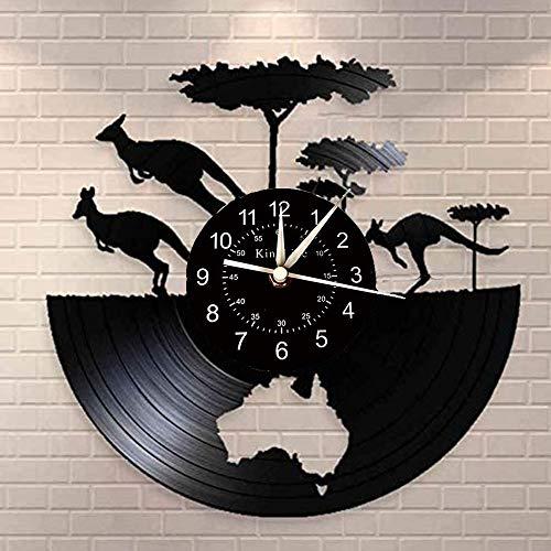 Smotly Vinilo Pared Reloj, Australia Canguro Registro Tema de Reloj de Pared, decoración Hecha a Mano del Arte de la Pared del Reloj dones creativos,B