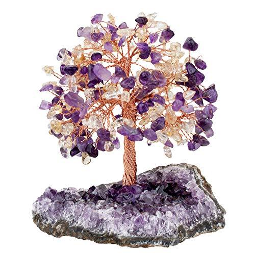 KYEYGWO Amatista y citrina, árbol de cristal curativo sobre amatista natural, base en bruto de piedra para dinero, Feng Shui, bonsái, decoración para casa, buena suerte, riqueza