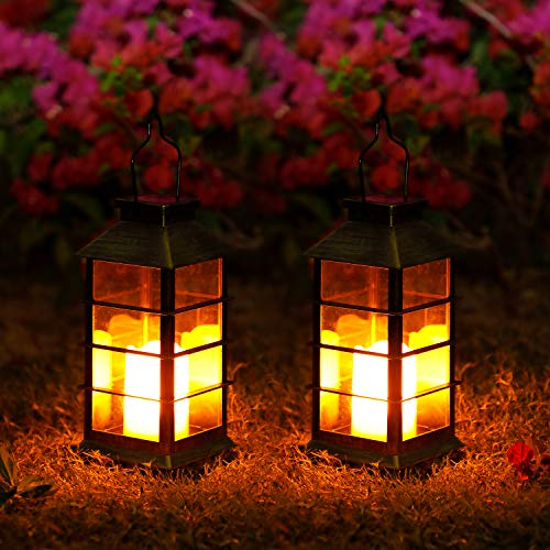 2 Pack Solar Lanterns, LED Solar Lights Outdoor, OxyLED Hanging Lanterns Solar Powered with Handle, Waterproof Flickering Flameless Candle Mission Light for Table Garden Patio Pathway Yard