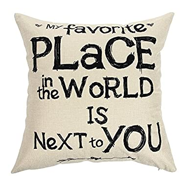Ogiselestyle My Favorite Place In The World Is Next To You Inspirational Quote Cotton Linen Home Decorative Throw Pillow Case Cushion Cover for Sofa Couch, 18  x 18