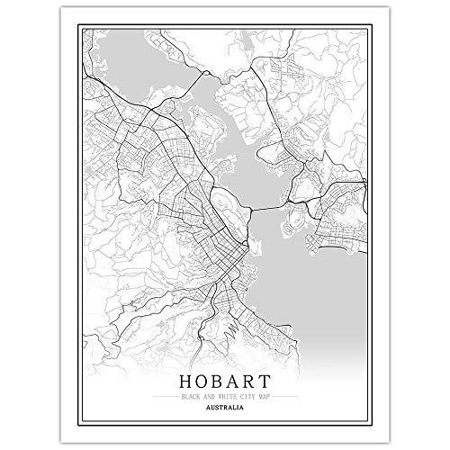 Impresión De Lienzo,Hobart City Map Póster En Blanco Y Negro De Estilo Nórdico Impreso En Póster Impresiones Artísticas Minimalistas Foto Decoración Del Hogar Para Paredes De Sala De Estar Y Do