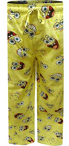 Mad Engine Men's Nickelodeon Spongebob Happy Faces Tall Lounge Pants (Large Long Tall) Light Yellow