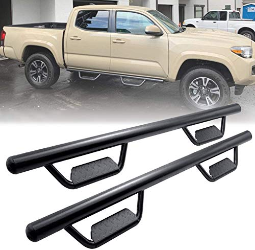 Running Boards Side Step Nerf Bars Hoop Bar for 2005-2021 Toyota Tacoma Double Cab/Crew Cab with 4 Full Size Door (Driver and Passenger Side),Drop Step Style,Black Powder Coated,3 Inches,Round Tube
