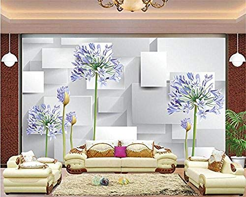 XHXI WalSpace Solid Geometry Series Wallpaper-Purple Flowers and Squares Home Decor for Living Room Sofa Tv Background B 3D Wallpaper Paste Living Room The Wall for Bedroom Mural border-350cm×256cm