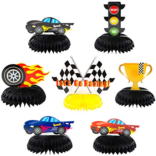BeYumi 7Pcs Race Car Honeycomb Centerpieces Decorations, Let's Go Racing Party Table Toppers, 3D Double-Sided Cake Toppers Photo Booth Props Party Favors Supplies for Baby Shower Kids Boys Birthday