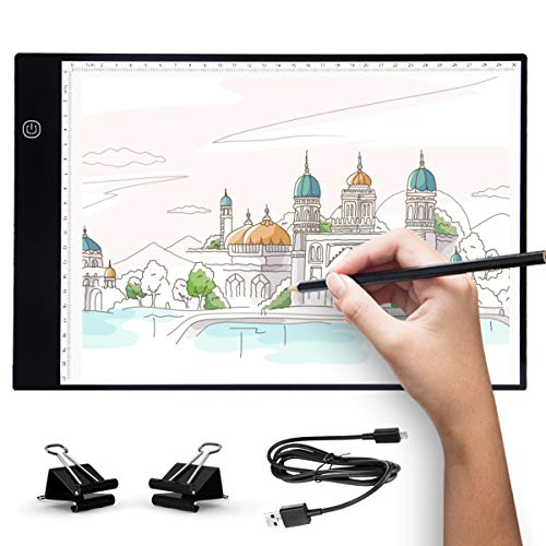 UKON A4 LED Light Box Drawing Light Pad Art Tracing Light Board for Tracer Kids Artists Diamond Painting with Dimmable Brightness for Embroidery Sketching Animation Stenciling (A4)