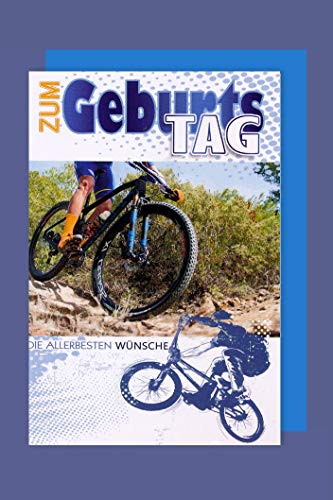 Fahrrad Hobby Sport Geburtstag Karte Grußkarte Mountainbike 16x11cm