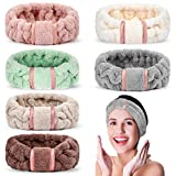 6 Pack Spa Headbands Microfiber Headbands Makeup Headband Face Wash Headband Skin Care Headbands Face Washing Headband Fluffy Headband Fuzzy Headbands Spa Headbands for Women for Washing Face