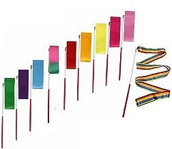 GEORLD 6.5-Foot Dance Ribbon Dancing Streamers Rhythmic Gymnastic Ribbons for Kids, Baton Twirling, Assorted Colors