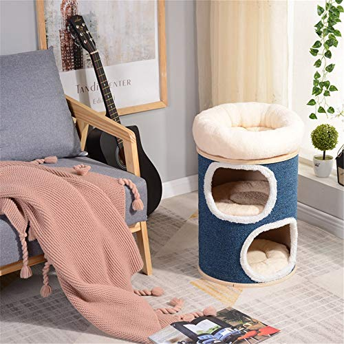 Cadre D'escalade de Chat Arbre à chat en bois massif Cat Tree Climbing Double Couche Sisal Barrel Litière en bois massif Pet Arbre à chat Sisal Barrel Jouet for chat Chat Arbre Stand Maison Meubles Ch