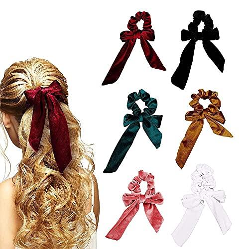 6PCS Pañuelos para el Pelo, Bandas para el cabello con lazo, bandas para el cabello de terciopelo, bandas elásticas para el cabello, lindas bandas para el cabello con lazo para mujeres y niñas