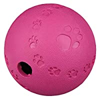 Made by natural rubber Can be filled with treats Long time amusement due to integrated labyrinth Ball ensures extra entertainment: rolls quietly and bounces Various colours