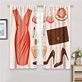 DIMICA Blackout Window Curtains Heels and Dresses Accessories Fashion Cocktail Dress Lipstick Earrings High Heels for Living Room or Bedroom W63 x L72 Inch Salmon Brown Peach
