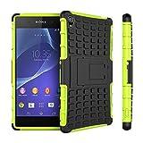 pinlu® Funda para Sony Xperia Z3 (5.2 Pulgada) Smartphone Doble Capa Híbrida Armadura Silicona TPU + PC Armor Heavy Duty Case Duradero Protección Neumáticos Patrón Verde