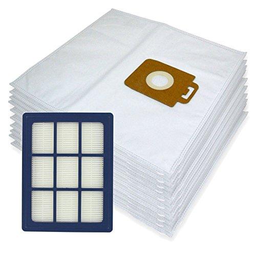 Spares2go Sacs d'Chiffon de nettoyage en microfibre + H12 Filtre HEPA pour Nilfisk Power P40 + Allergy Aspirateur (lot de 10 + cartouche de filtre)