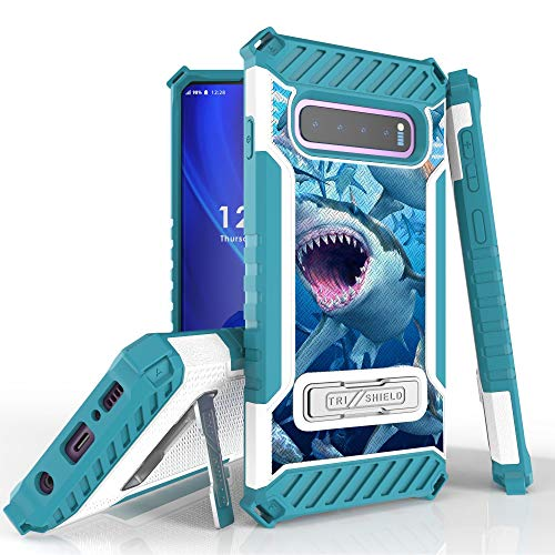 Military Grade Shockproof Hybrid Cover Dual Layer Case w/Stand Compatible with Samsung Galaxy S10 Plus - School of Sharks