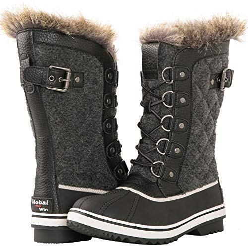 GLOBALWIN Women's 1908 BLACK/GREY Asymmetrical Mid-Calf Fashion Snow Boots 5.5M