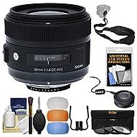 シグマ30mm f / 1.4DC HSM Artレンズwith USB Dock + 3フィルタ+スリングストラップ+ディフューザーキットfor NikonデジタルSLRカメラ