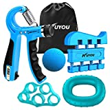 Hand Grip Strengthener Forearm Grip Workout Kit, 5 Pack Adjustable Resistance Hand Gripper, Finger Stretcher, Finger Exerciser, Grip Strength Ring & Stress Relief Grip Ball for Athletes (Blue)