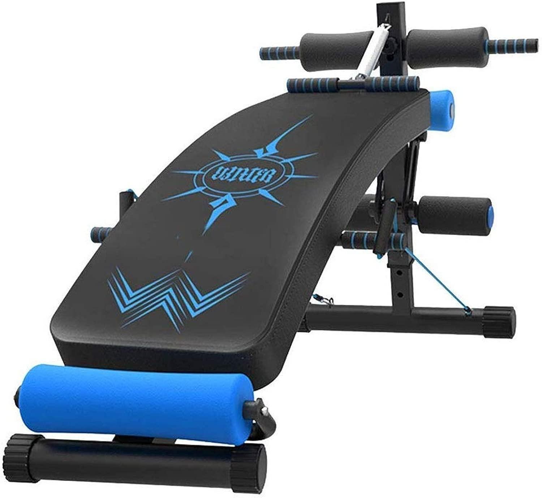 ベンチに座って、多機能運動補助手段シットアップボード腹部の筋肉フィットネスマシン、最大負荷容量264ポンド5スピード調整ブラックとブルー