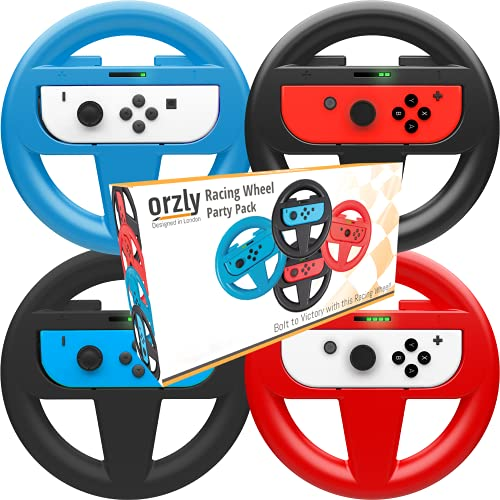Orzly Nintendo Switch & OLED Console Steering Wheel, 4 Pack, for Mario Kart 8 Deluxe Nintendo Switch, Mariokart Switch Steering Wheel (Joycon Controller Attachments) (2X Black, 1x Wheel, 1x Red)