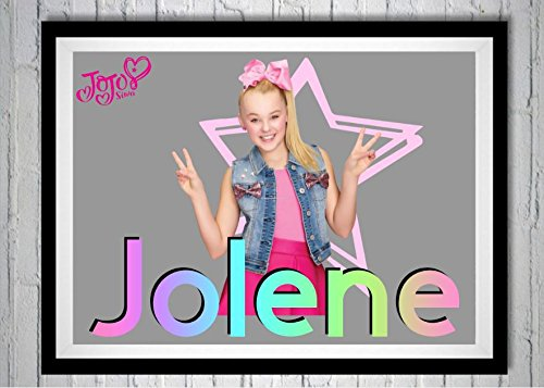 CreationsByCristii Jo Jo Siwa Personalized Framed NAME artwork. JoJo Siwa any name, bedroom decor