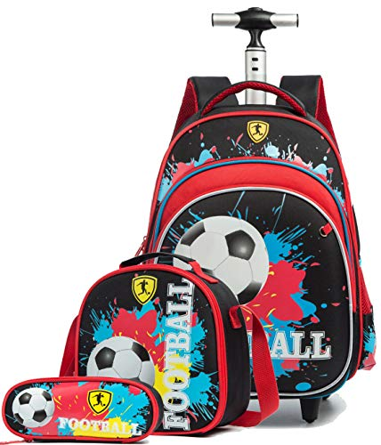 Meetbelify Rolling Backpack for Boys Kids Backpacks with Wheels for Boys School Bags with Lunch Box Wheeled Laptop Luggage