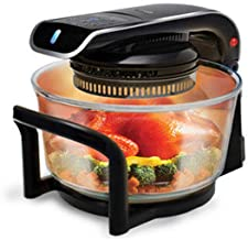 JINRU Home Use Microwave Oven Frying Pan Halogen Oven Air Fryer Lightwave Fryer Automatic Speed Cook Electric Deep Fryers,Black