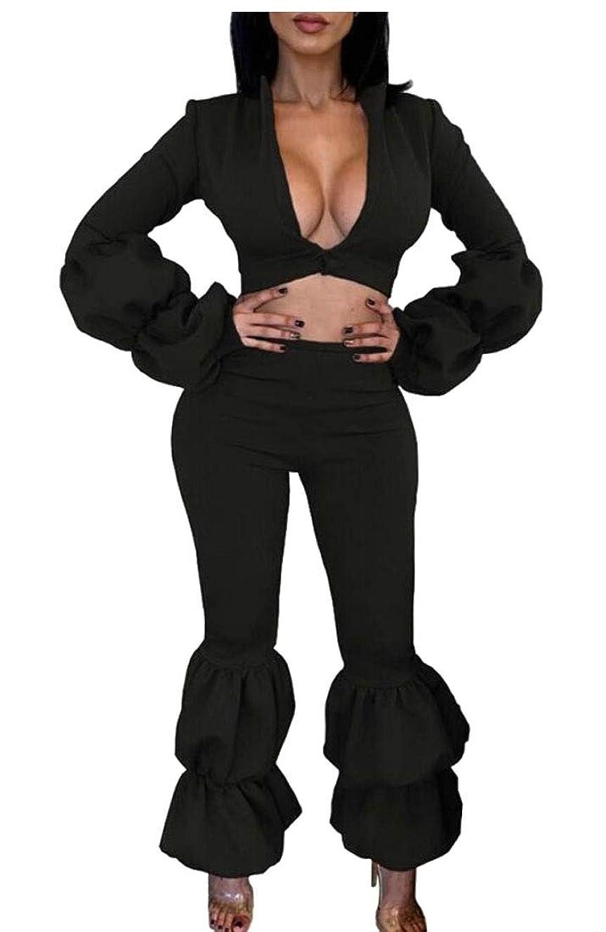 入り口時々時々ボリューム女性の2ピースアウトフィットVネック作物トップロングパンツスーツセット