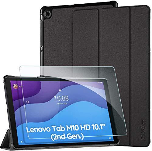 EasyAcc Custodia Cover Compatibile con Lenovo Tab M10 HD (2nd Gen) 10.1 con Vetro Temperato Ultra Sottile con Funzione di Supporto Auto Sleep/Wake Up Slim Custodia per TB-X306X / TB-X306F, Nero