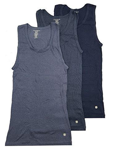 Lucky Brand Men's Ribbed Tanks 3-Pack (Navy/Navy Blue/Blue, L)