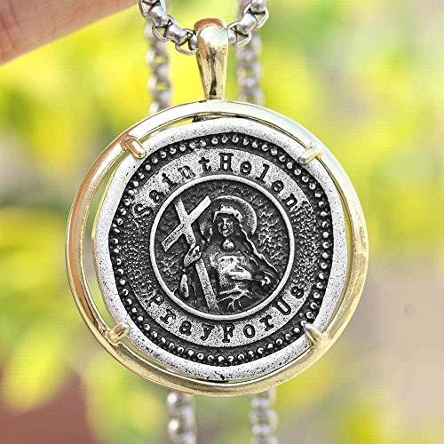 niuziyanfa Co.,ltd Collar de Santa Elena medallón católico patrón divorciado Madre Soltera Regalo de joyería