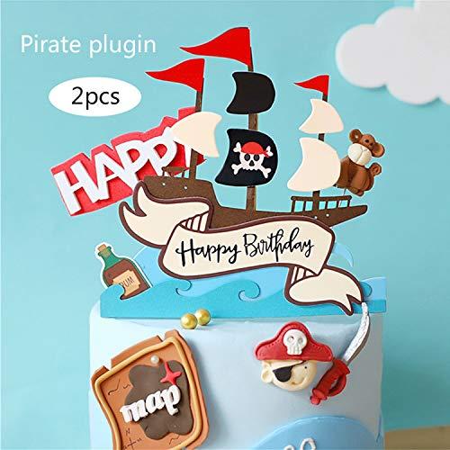 Decorazione per feste di compleanno, vassoi per torta pirata, decorazione per vassoio per torta pirata, adatta per decorare matrimoni o feste a tema pirata, ragazzi e ragazze (Nave pirata, 2)