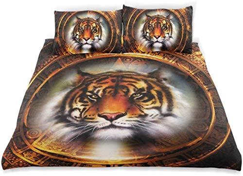 Juego de funda nórdica Diseño de calendario maya antiguo con cabeza de gato Big Hunter Wise Feline Old Culture Juego de cama decorativo de 3 piezas con 2 fundas de almohada Fácil cuidado Anti-alérgico