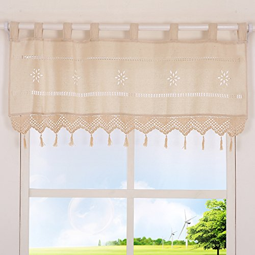 ZHH Handmade Hollow Flower Cafe Curtain Linen and Cotton Crochet Lace Window Patchwork Boho Valance 17 by 59-inch, Cream/Light Beige